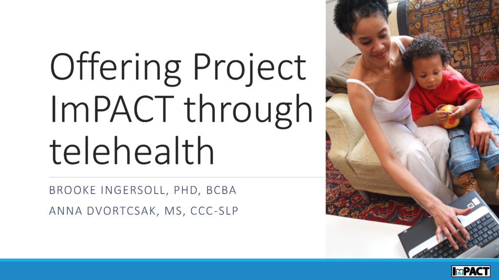 Free webinar on delivering Project ImPACT via telehealth